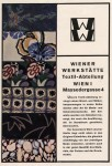 Advertising for Wiener werkstätte  textile department. By F. Bruckmann