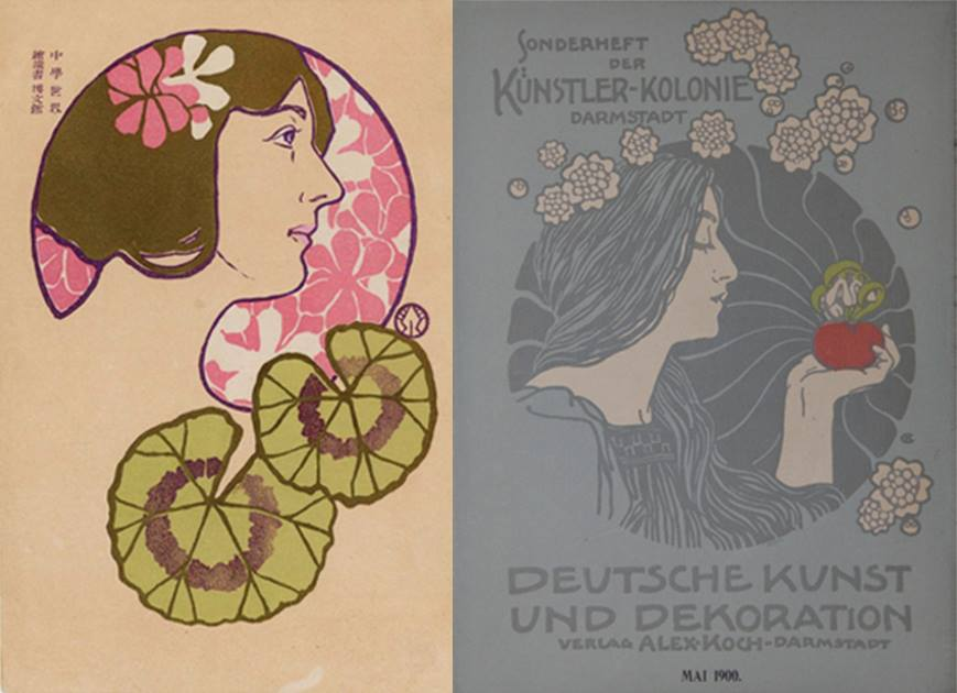 Japanese postcard circa early 1900's (left) and a cover design by Hans Christiansen for Deutsch Kunst un Dekoration, 1900. (right)