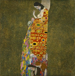 'Hope II' by Gustav Klimt. Oil, gold, and platinum on canvas, 1907-1908