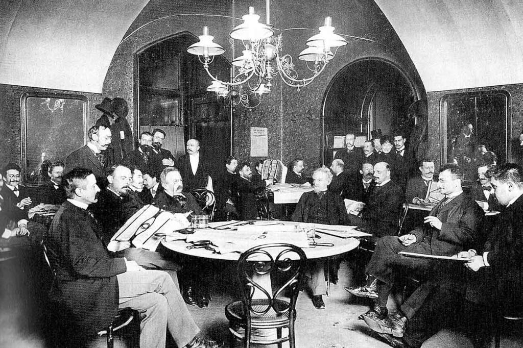 Newpaper reading inside Café Griensteidl, Vienna. (Image by Carl von Zamboni)