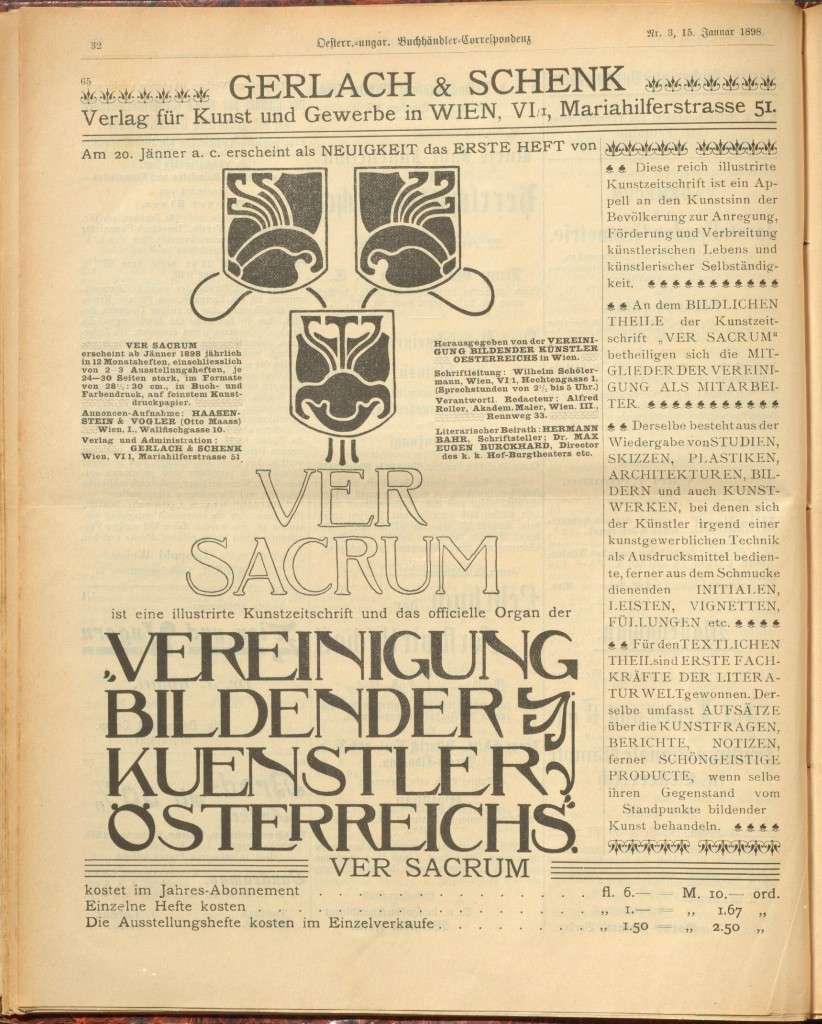 Advertisement announcing the arrival of Ver Sacrum.