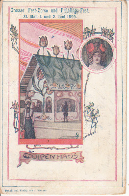 Postcard showing the 'Tulip Haus' at the Grosser Fest-Corso und Frühlings-Fest