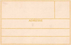 Yellow verso used on postcards 105-188 produced in 1908.