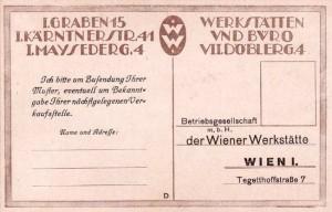 Wiener Werkstätte postcard by Leo Blonder. (back)