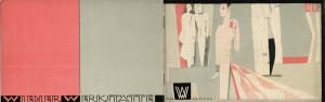 Promotional booklet for Wiener werkstätte fashion department. Illustrated by Max Snischek.