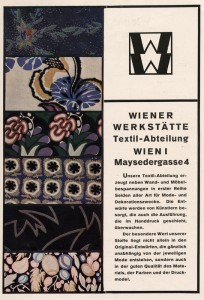 Advertising for Wiener werkstätte  textile department. By F. Bruckmann