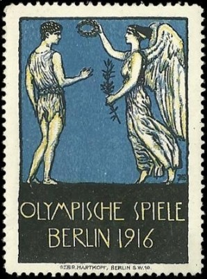 Franz Stuck-Olympische_Spiele,_Berlin_1916,_poster_stamp,_Daulton_Collection