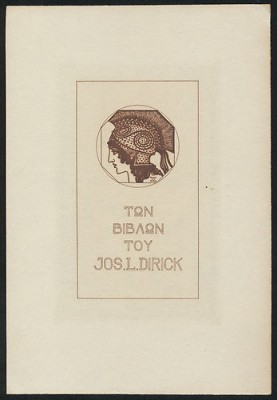 Franz Stuck-Ex_Libris_Joseph_L._Dirick,_bookplate,_c._1890s,_heliogravure_in_brown-red_on_wove_paper,_160_x_110_mm,_USD_238,_Mar._13,_The_Daulton_Collection