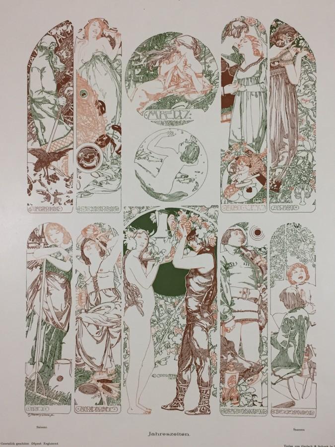 Carl Otto Czeschka, Gerlach's Allegoriy, Art Nouveau, Secession. Jugednstill, prints, lithograph, poster