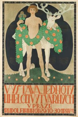 JINDRICH HLAVÍN (1877-1958). VYSTAVA JEDNOTY / UMELCU VYTVARNYCH. 1910. 47x31 inches, 120x80 cm. Vitek, Prague.