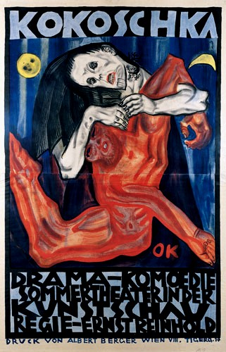 Kokoschka- Poster design for 'Murder, Hope of Woman', Kunstschau 1909.