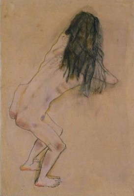 'Nude_with_Back_Turned',_ink,_gouache_and_chalk_drawing_by_Oskar_Kokoschka,_c._1907